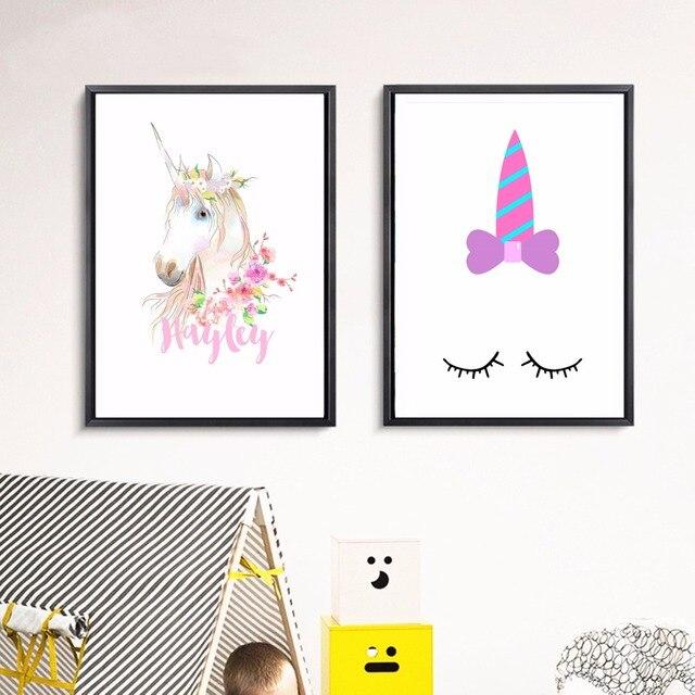 Cuarto unicornio Niñas ilustraciones lienzo impresión del arte ...