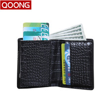 QOONG 2019 Automatic Pop Up ID Credit Card Holder Hand Push Men Women Business Case Safe Aluminum Antimagnetic Purse Wallet