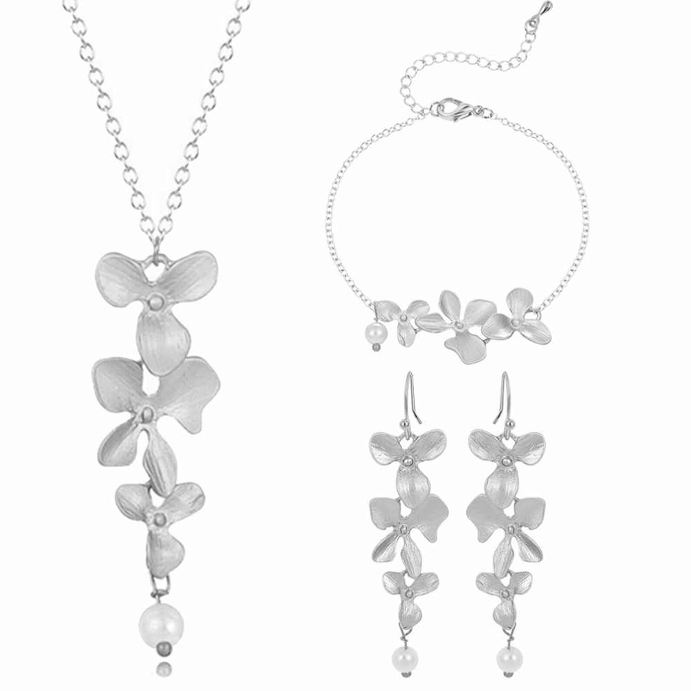 Kinitial 3pcs Orchid Flower Bridal Wedding Jewelry Set New Arrival Luxury Lotus Necklace Earrings Bracelet Party joyas bijoux