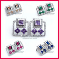 Carraton ESQDX2017 High Quality Color Cubic Zirconia Genuine 925 Sterling Silver Earrings for Ladies