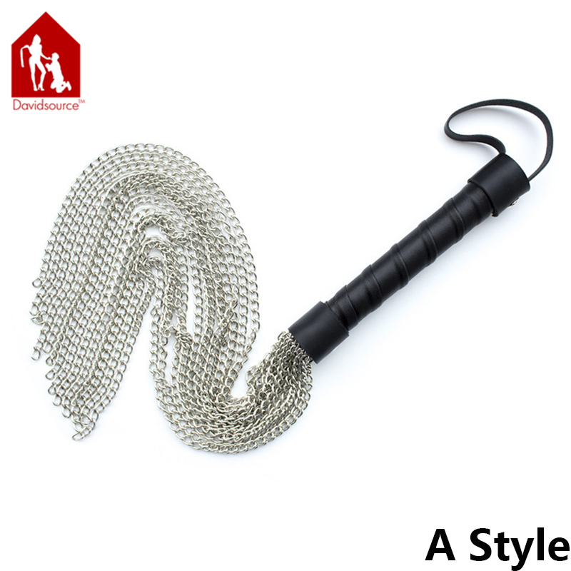 Davidsource Metal Chain Whip With Leather Jeweled Handle & Hand Strap Sex Slave Training Butt Spanking Torture Sex Toy