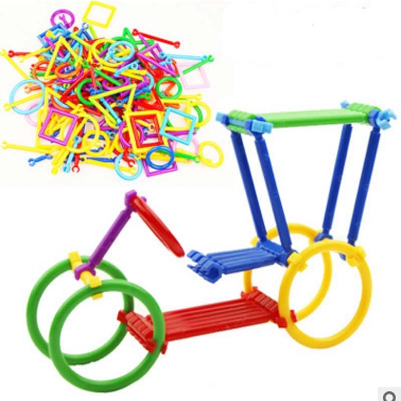 5bags Assembled Plastic Intelligence Sticks Izglītības celtniecības bloki Rotaļlietas Roku darbs DIY Montessori Agrīnās mācīšanās dāvanas