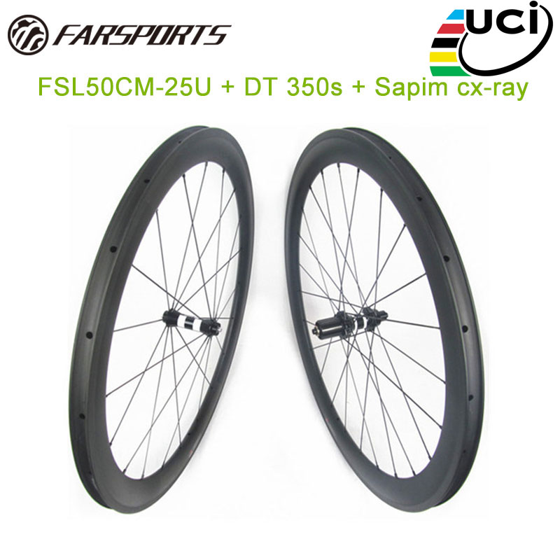 FAR carbon road wheelsets 50mm deep 25mm wide with DT 350s sp hub, popular bicycle wheelsets only 1620g each set dropshipping