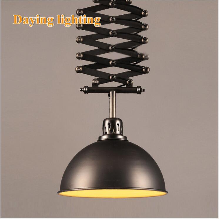 L ретро промышленного ветер кованого железа подъемная телескопическая люстра магазин одежды кафе бар потолочная светодио дный LED
