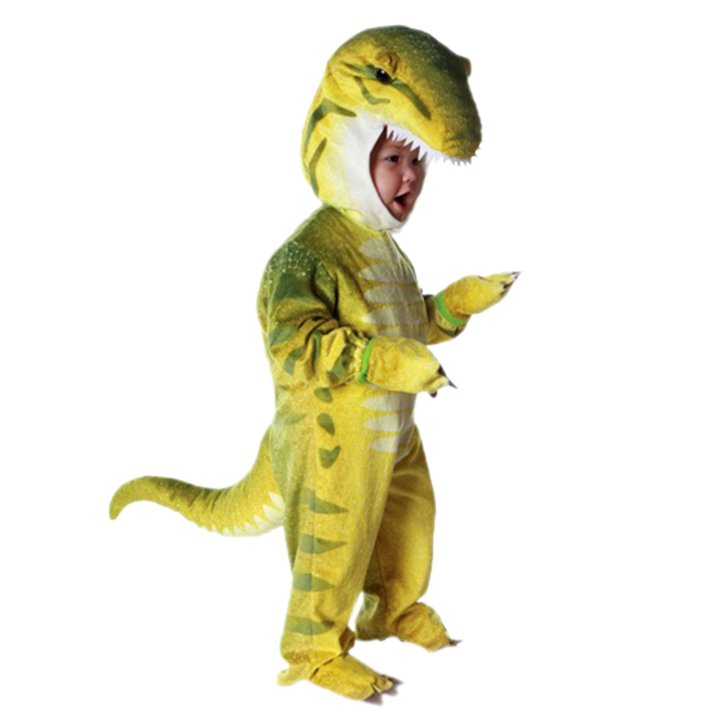 Kids Little Green T-Rex Costume Purim Celebrating Cosplay Dino Halloween Costumes for Boy Girl