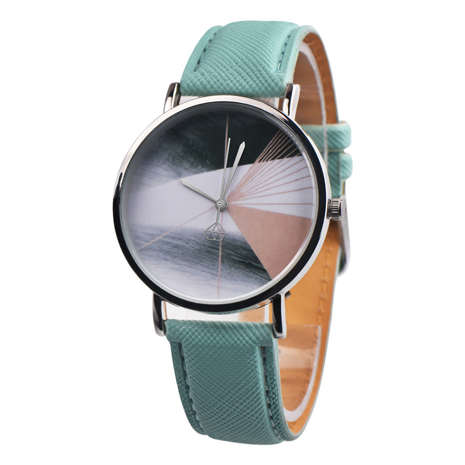Round Lady Quartz Watch Fashion Simple Leather Strap Stereo Painting Bracelet Clock Gift Leather Black/Mint Green/Brown