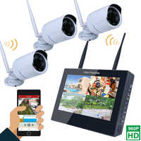 "10 ""TFT 4CH 960 P HD Drahtlose DVR Video Security System (NVR Kits)-3 STÜCKE 1.3MP Drahtlosen Wetterfeste Gewehrkugel Ip-kameras"