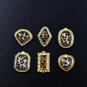 10pcs Gold Sexy Leopard Rhinestones 3d Nail Art Decorations gliter New Arrival Strass Diamonds Stones Charms nails accessoires(China)