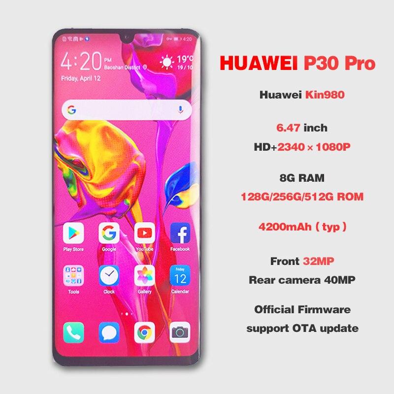 ROM mondial HUAWEI P30 Pro 8GB 512GB téléphone portable plein écran NFC Smartphone Octa Core barre Android FHD + Kirin 980 5 caméras - 2