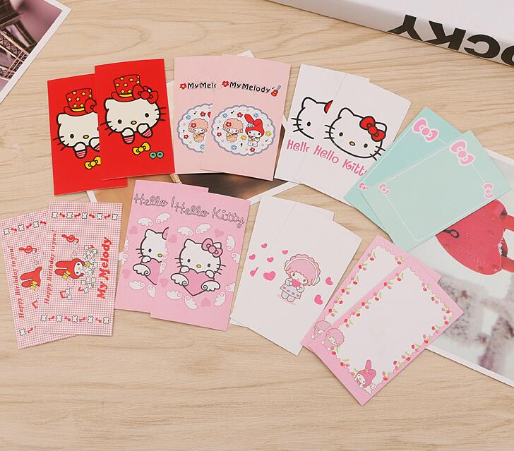 Cartoon Hello Kitty Christmas Holdiy Letter Paper Invitation Card Party Birthday Greeting Cards 40 Pcs For 1Pack 1 Color In Invitations From Home