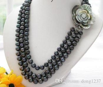 triple strands 8-9mm south seas white pearl necklace 18-22inch>>> free   shipping
