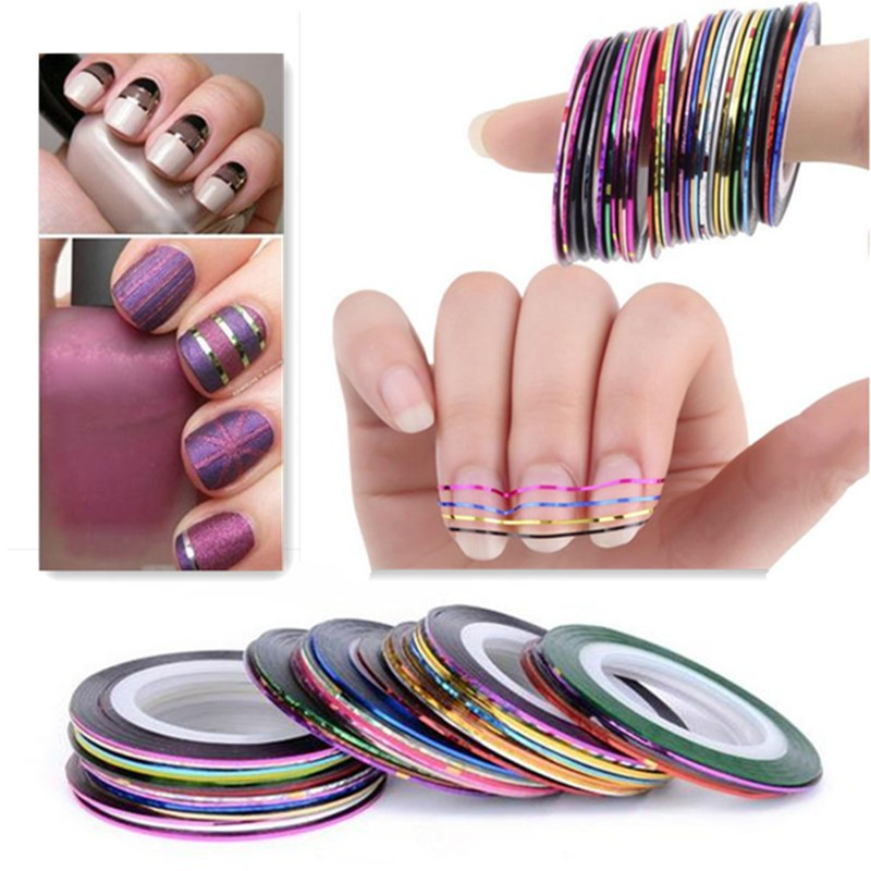 Hot-Sale-20Pcs-Mixed-Colors-Sticker-Nail-Art-DIY-Tips-Decoration-Stickers-Rolls-Striping-Tape-Line