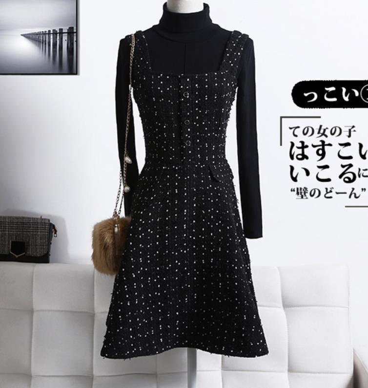 Taille 3xl Mince Tempérament Plus Femmes Petit Robe D'hiver La De Laine Épaississement Parfum Tweed Courroie RBqEwE15x
