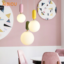 AIBIOU Nordic LED Pendant Light With Glass Lampshade For Dining Room Iron Lamp Colorful Hanging E27 Bar Luminaira