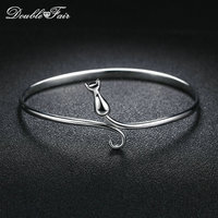 Double Fair 100% 925 Sterling Silver Charms Bracelets & Bangles Lovely Cats Design S925 Jewelry For Women Party DFHY002