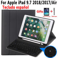 Spanish Keyboard Case For Apple iPad 9.7 2018 2017 6th 5th Generation Air 2 Pro 9.7 A1822 A1823 A1954 A1566 A1673 Pencil Holder