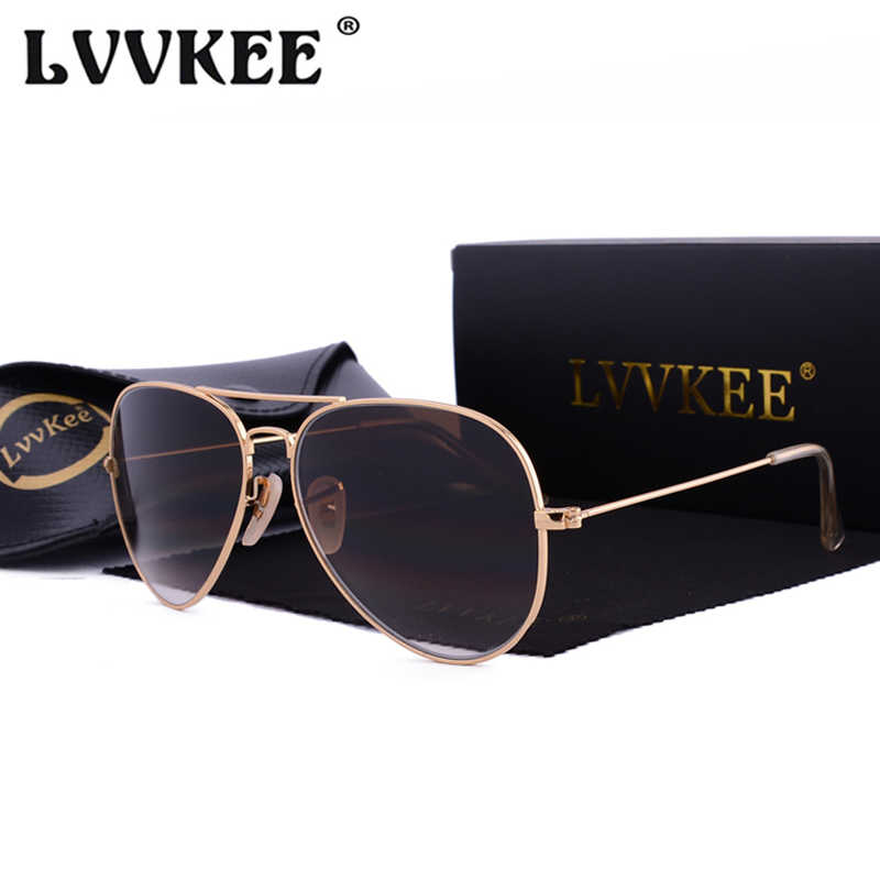 Hot LVVKEE 2019 Brand Classic Gradient Driving Sunglasses Men/Women 58mm Tempered glass lens Sun Glasses UV400 Oculos With Case