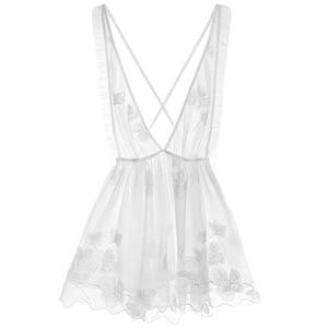 Image 5 - Lisacmvpnel Spaghetti sangle Sexy femmes chemise de nuit V profond noir sans Lingerie féminine