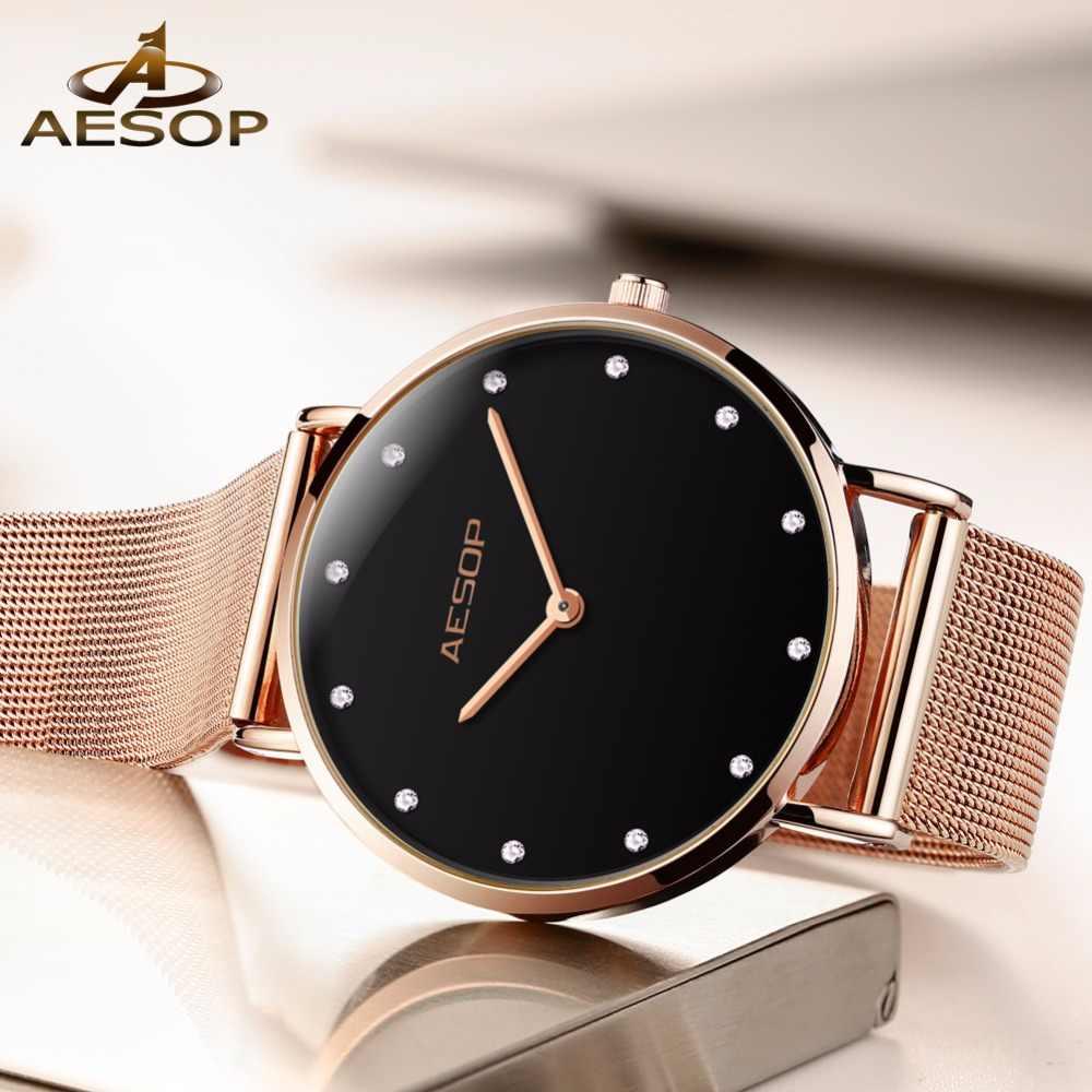 8dba3e9cd819 ... AESOP Ultrathin DW Fashion Clock NEW Women Watches Top Brand Luxury  Quartz watch Rose Gold bracele ...