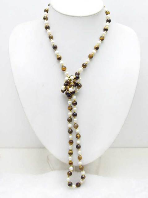 SALE 6-7mm White Natural freshwater Pearl & 8mm yellow tiger's-eye 40'' Necklace -nec6055 wholesale/retail Free shipping