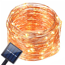 20m 200 Led solar light String outdoor Copper Wire Fairy Lights 100 Led Strip Lamp waterproof Wedding Christmas for garden Decor 22m 200 led solar strip light outdoor lighting garland christmas trees led string fairy lights waterproof for wedding garden new