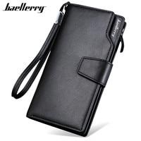 Baellerry 2017 Luxury Brand Men Wallets Long Men Purse Wallet Male Clutch PU Leather Zipper Wallet