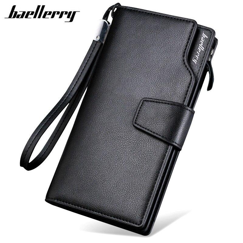 Baellerry 2017 hombres de marca de lujo de los hombres de la carpeta del monedero embrague billetera de cuero con cremallera hombres de negocios monedero