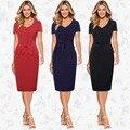 Европейский Американский стиль женщины dress высокое качество мода оборками v шеи короткими рукавами однобортный пуловер карандаш dress B639