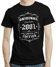 2019 engraçado 18th aniversário, nascido em 2001 estilo retro vintage edição limitada camiseta camiseta topo unisex