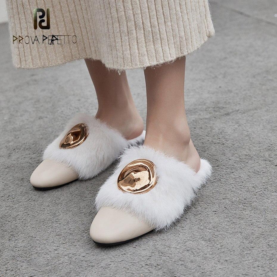 Prova Perfetto genuine leather with fur women slipper metal decor flat heel casual shoes slip on mule shoe plush outside slipper цена