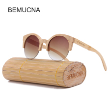 2017 New BEMUCNA Cat Eye Sunglasses Women Brand Designer Semi-Rimless Wood Sunglasses Men Bamboo Sun Glasses For Men UV400