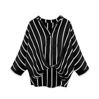 Casual Twist Front Full SleeveWomen Striped Blouses Ladies Fashion Crop Top Loose Blouse Blouses