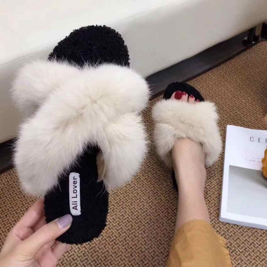 6f7c3f7a2 super fashion fur sandals women cross band fur slippers 2018 warm winter  shoes outdoor slides big
