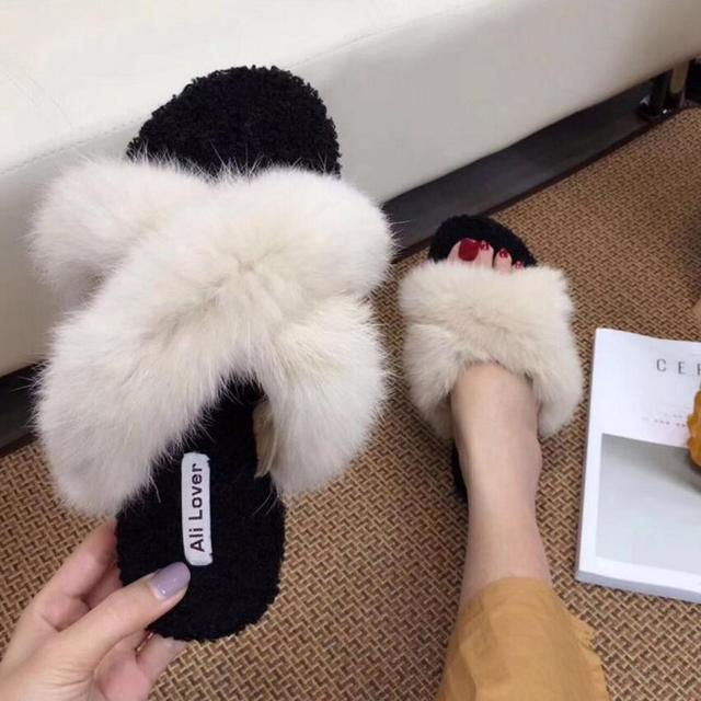 378833caadff5c super fashion fur sandals women cross band fur slippers 2018 warm winter  shoes outdoor slides big size fur flip flops s163