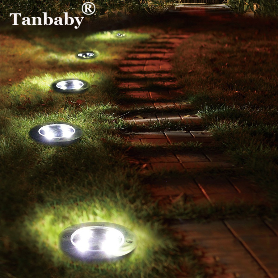 Tanbaby 5LEDs Solar Ground Lamp IP65 Waterproof Solar Garden Light Outdoor Buried Floor Path Light For Landscape Lawn Decoration