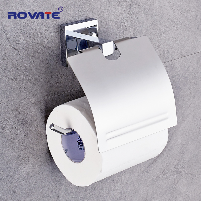 ROVATE Stainless Steel Toilet Paper Holder Chrome Plated Roll Holder Brass Fixed Part Wall Mount Paper Stand Bathroom Accessory everso 2017 wall mount toilet paper holder chrome 304 sus stainless steel toilet roll paper holder bathroom accessory