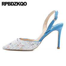 Mesh Sweet Pointed Toe High Heels Slingback Ladies Size 4 34 Multi Colored Prom Shoes 2018 Thin Korean Sandals Pumps 33 Strap