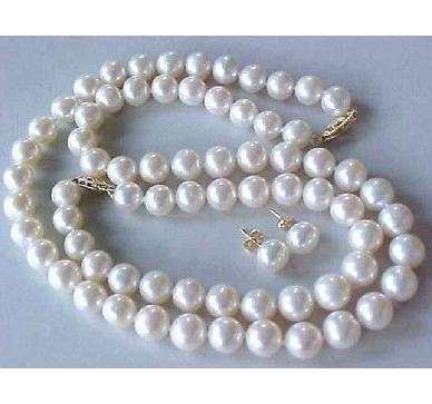 NOBLEST 9-10MM AAA WHITE SOUTH SEA PEARL NECKLACE 18 INCH Jewelery FREE BRACELET EARRING