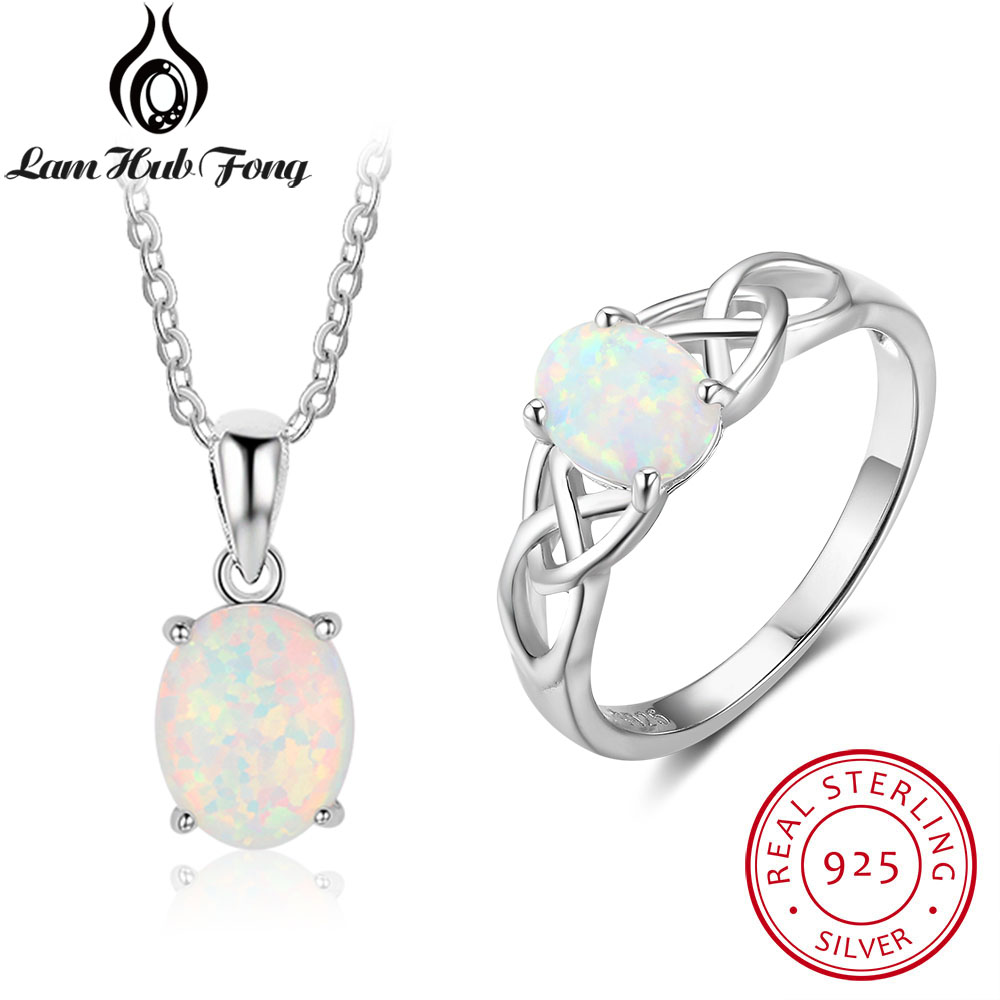 Real Pure 925 Sterling Silver Fine Jewelry Sets For Women Oval White Opal Ring/Necklace Wedding Bridal Jewelry Set(Lam Hub Fong) 9pcs girl cartoon birthday candle