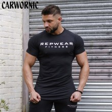 CARWORNIC New Fitness Gyms Short Sleeve Shirt Men Cotton T-shirt T Male Workout Muscle Slim Sportswear Tees Tops