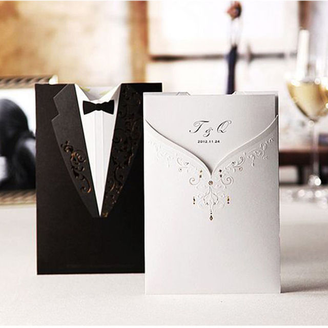 1 Pc New Design Personalized Double Sides Bride Bridegroom Dress Shaped Wedding Invitation