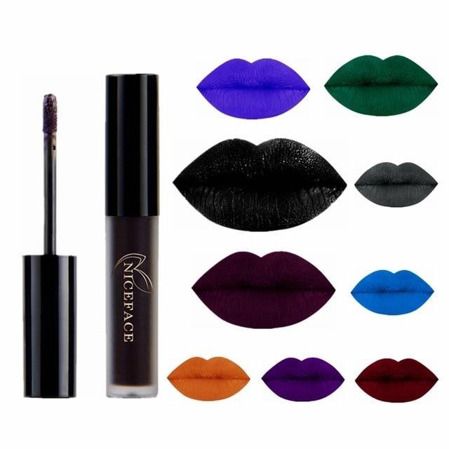 Lápiz labial líquido de 9 colores resistente al agua cosmético de larga duración Negro Azul Púrpura verde mate maquillaje brillo labial