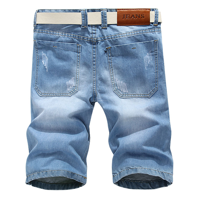 Men Short Jeans New Summer Male Solid Color Cotton Holes Denim Shorts Casual Knee Length Light Blue Jeans Shorts Size 36