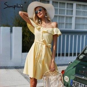 Image 1 - Simplee Vestido corto de volantes para mujer, vestido informal de algodón con botones, sin espalda y en amarillo para verano