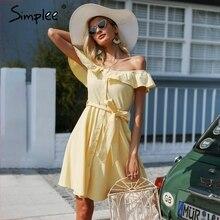 Simplee fırfır kapalı omuz yaz elbisesi kadın Streetwear kanat rahat elbise pamuk düğme backless sarı kısa elbise vestidos