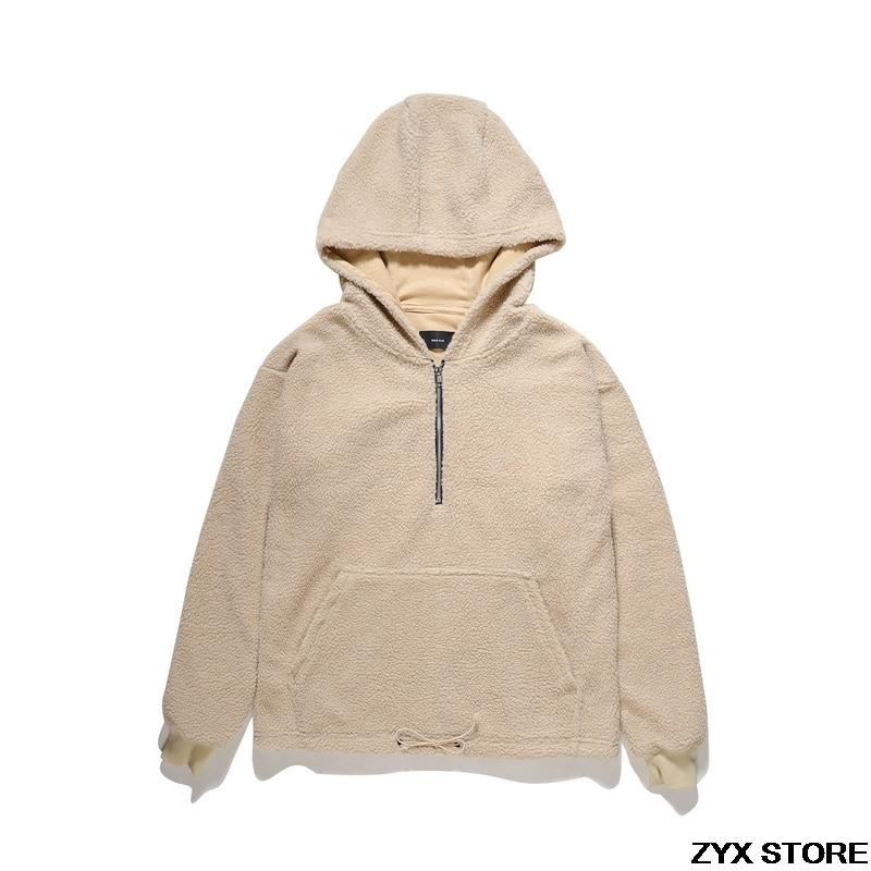 2017 Xieruis FOG Style Autumn Winter Men Fleece Outside Jacket Hoodies Hiphop Men Half Zip Hooded Jacket Casual Pullover
