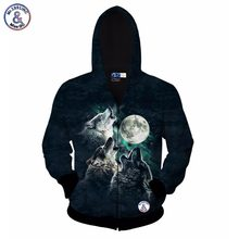 2017 Mr.1991INC jacket for men/women 3d sweatshirt print 3 wolf Howl to the moon casual hoody with zipper hooded hoodies