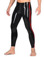 Latex Tight Leggings Sexy Latex Bottoms With Striped Color Thru Crotch Zip