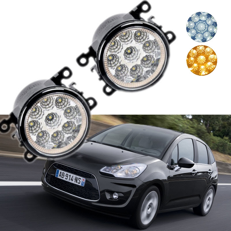 For Citroen C3 / C3 Picasso 2009-2016 9-Pieces Leds Chips LED Fog Light Lamp H11 H8 12V 55W Halogen Fog Lights auxmart triple row led chips 12 led