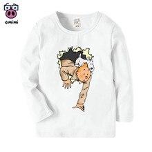 Детская футболка с длинными рукавами и принтом из мультфильма Тинтин осенне-зимние повседневные топы для мальчиков и девочек, милая детская футболка